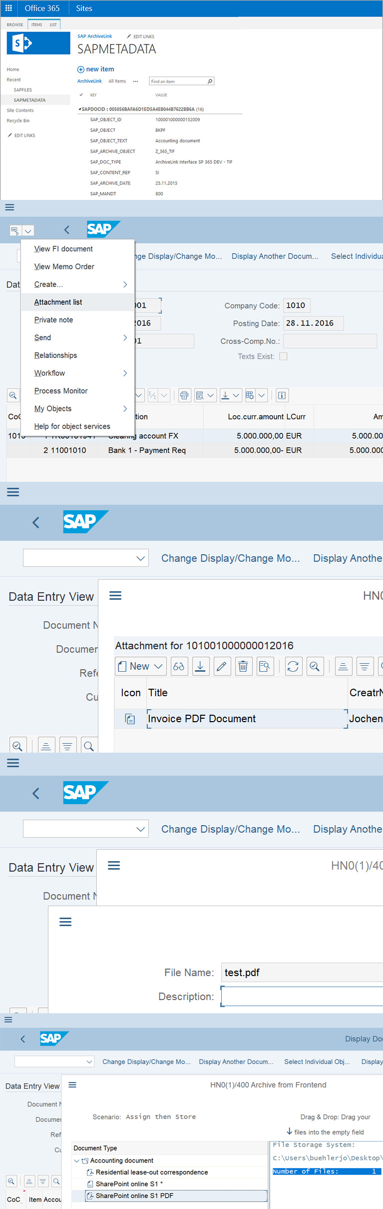 Sharepoint SAP DMS Archivelink Interface